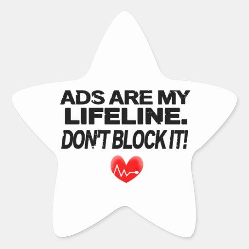 Os anúncios são cordas de salvamento adesivos em forma de estrelas