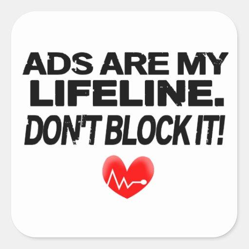 Os anúncios são cordas de salvamento adesivo em forma quadrada