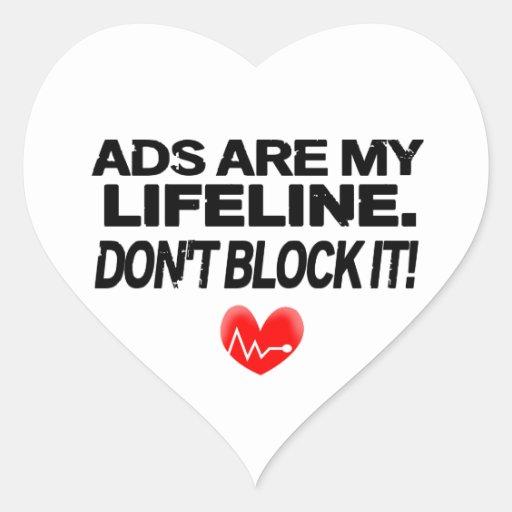 Os anúncios são cordas de salvamento adesivos de corações