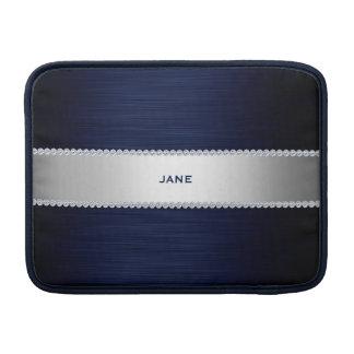 os azuis marinhos metal com diamantes e nomeiam bolsa de MacBook