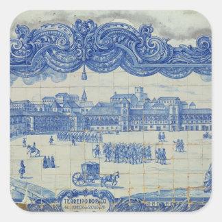 Os azulejos de Azulejos que descrevem o Praca Adesivo Quadrado