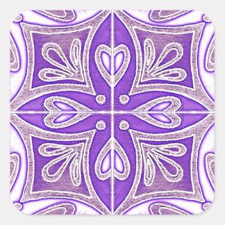 Os azulejos do coração inspiraram a lavanda de adesivo quadrado
