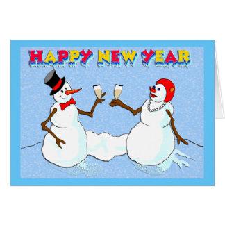 Os bonecos de neve de ano novo cartão comemorativo