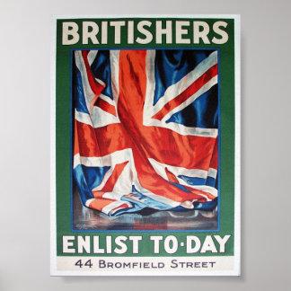os britishers recrutam pôsteres