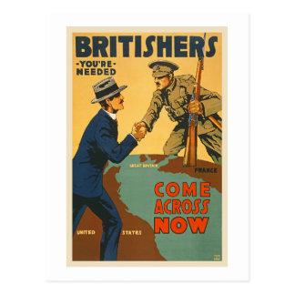 Os Britishers vêm através agora da propaganda de Cartão Postal