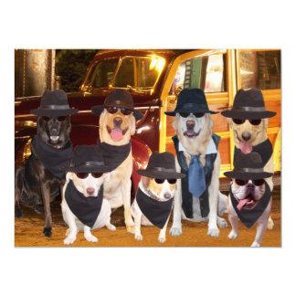 """Os cães engraçados customizáveis/laboratórios convite 16.51"""" x 22.22cm"""