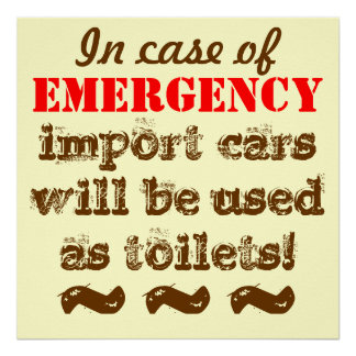 os carros da importação serão uso como toaletes na pôster