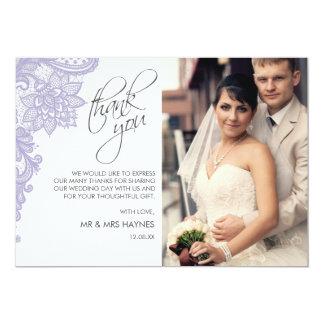 Os cartões de agradecimentos do casamento, atam o convite 12.7 x 17.78cm