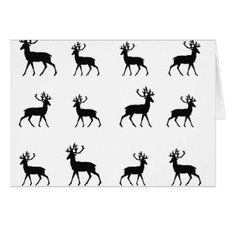 Os cervos modelam em preto e branco cartão comemorativo