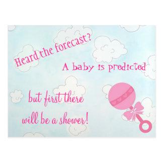 """Os chás da """"menina"""" do bebê convidam cartão postal"""