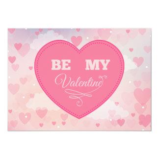 """Os corações cor-de-rosa """"sejam cartão do dia dos convite 12.7 x 17.78cm"""