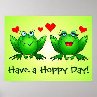 Os corações do amor dos sapos têm um dia Hoppy Poster