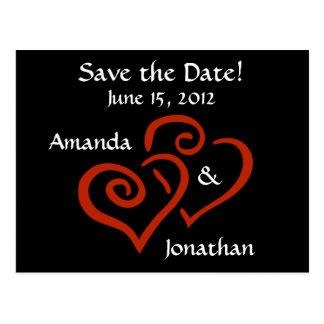 Os corações entrelaçados salvar o cartão da data