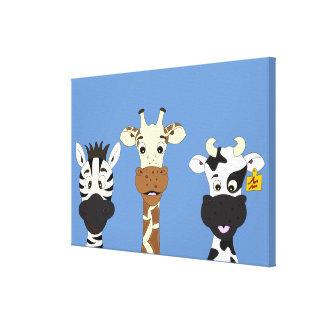 Os desenhos animados engraçados da vaca do girafa impressão em tela
