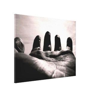 Os deuses alcançaram para fora a mão pelo preto & impressão em tela