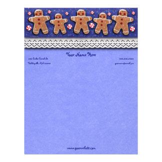 Os doces dos biscoitos do pão-de-espécie polvilham papel timbrado