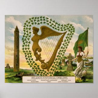 Os emblemas históricos de Ireland Poster