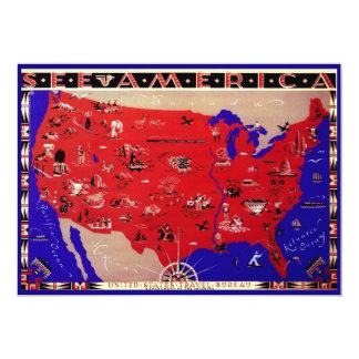 Os Estados Unidos da América antigos do mapa do Convites