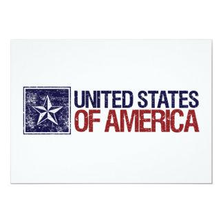 Os Estados Unidos do vintage com estrela - 4o de Convite 12.7 X 17.78cm