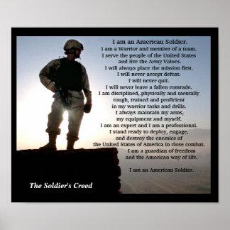 Os etos militares do guerreiro do credo dos poster