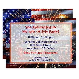 Os EUA embandeiram e fogos-de-artifício Convite 12.7 X 17.78cm