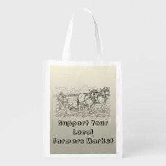 Os fazendeiros introduzem no mercado a bolsa de sacolas reusáveis