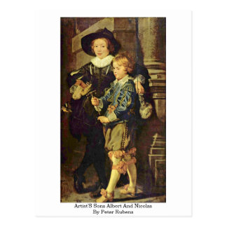 Os filhos Albert e Nicolas dos artistas por Peter  Cartão Postal