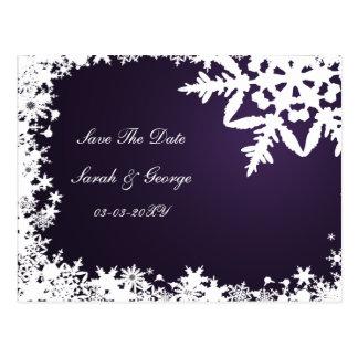 os flocos de neve roxos salvar a data cartão postal