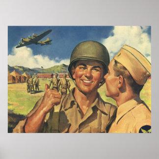 Os heróis patrióticos do vintage, pessoal militar pôster