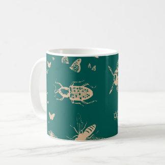 Os insetos modelam, verde profundo do opal caneca de café