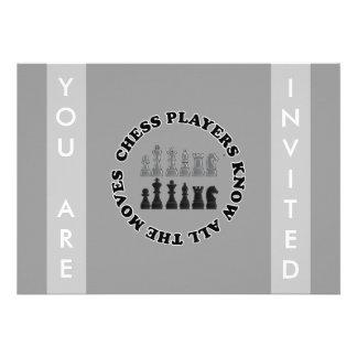 Os jogadores de xadrez engraçados sabem todos os m convites personalizados