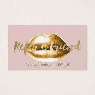 Os lábios do ouro do cartão | da referência coram