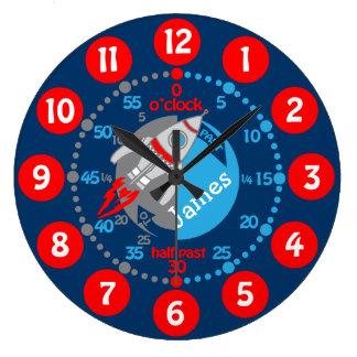 Os meninos dos miúdos aprendem dizer a tempo o relógios de paredes