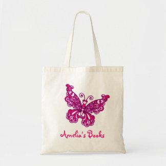 Os miúdos cor-de-rosa da borboleta nomearam a saco sacola tote budget