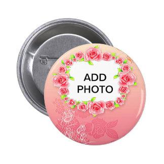 Os namorados cor-de-rosa dos rosas adicionam sua bóton redondo 5.08cm