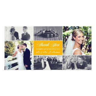 Os Newlyweds agradecem-lhe amarelo do girassol do Cartão Com Foto Personalizado