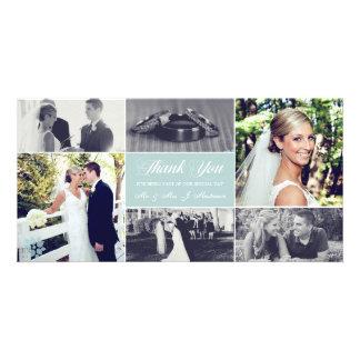 Os Newlyweds agradecem-lhe azul de gelo do cartão Cartões Com Foto Personalizados
