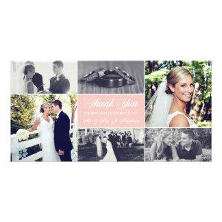 Os Newlyweds agradecem-lhe cartão com fotos rosa