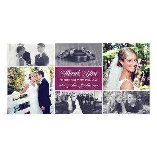 Os Newlyweds agradecem-lhe roxo da ameixa do Cartão Com Foto Personalizado
