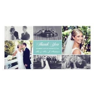 Os Newlyweds agradecem-lhe turquesa clara do Cartao Com Fotos Personalizado