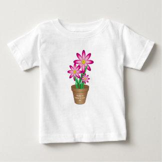 Os obrigados para ajudar-me crescem - a flor feliz camiseta para bebê