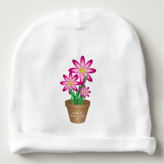 Os obrigados para ajudar-me crescem - a flor feliz gorro para bebê