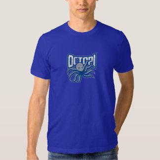 Os polvo afligiram o logotipo - azul camiseta