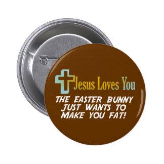 Os presentes engraçados da páscoa, Jesus amam-no Bóton Redondo 5.08cm