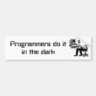 Os programadores fazem o itin a obscuridade adesivo para carro