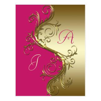 Os redemoinhos ornamentado do ouro cor-de-rosa sal cartões postais