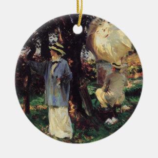 Os Sketchers por Sargent, arte do Victorian do Ornamento De Cerâmica Redondo