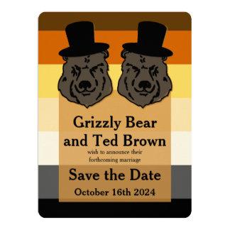 "Os ursos alegres do casamento na bandeira do urso convite 16.51"" x 22.22cm"