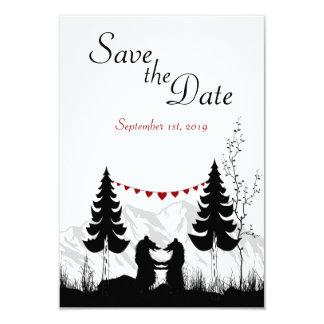 Os ursos da montanha salvar o anúncio do casamento convite 8.89 x 12.7cm