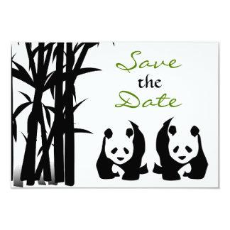 Os ursos de panda e o casamento de bambu salvar a convite 8.89 x 12.7cm